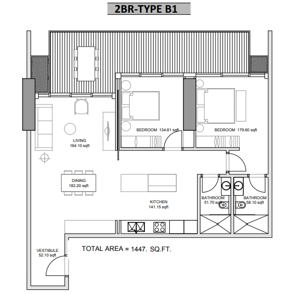 Planning of the apartment 2BR, 1447 in Hameni Homes by Zaya, Dubai
