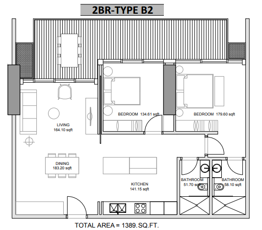 Planning of the apartment 2BR, 1389 in Hameni Homes by Zaya, Dubai