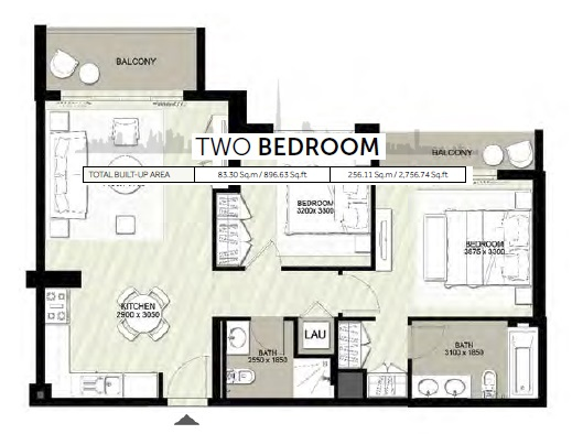 Planning of the apartment 2BR, 2756.74 in Rawda Apartments, Dubai