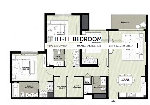 Planning of the apartment 3BR, 2254.93 in Rawda Apartments, Dubai