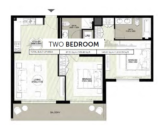 Planning of the apartment 2BR, 1610.39 in Rawda Apartments, Dubai