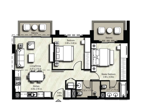 Planning of the apartment 2BR, 965 in Safi Apartments, Dubai