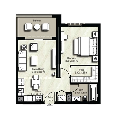 Planning of the apartment 1BR, 691 in Safi Apartments, Dubai