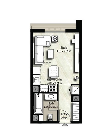 Planning of the apartment Studios, 343 in Safi Apartments, Dubai