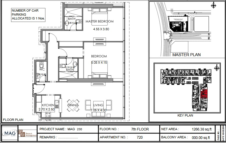 Planning of the apartment 2BR, 1266.4 in MAG 230, Dubai