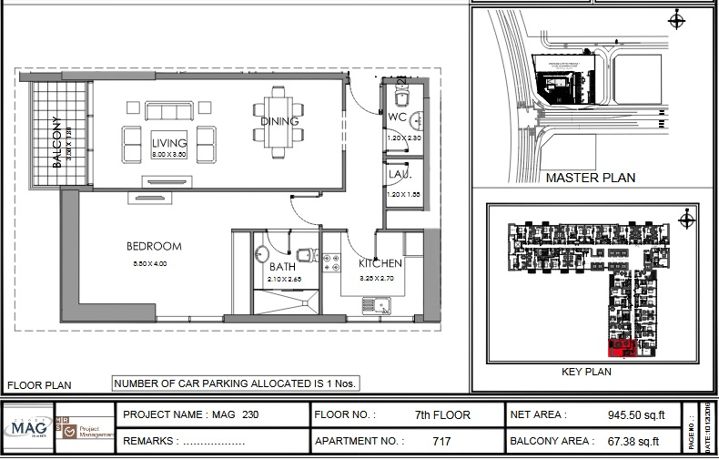 Planning of the apartment 1BR, 945.5 in MAG 230, Dubai