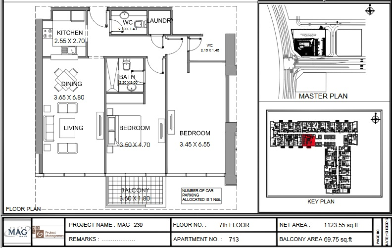Planning of the apartment 2BR, 1123.6 in MAG 230, Dubai