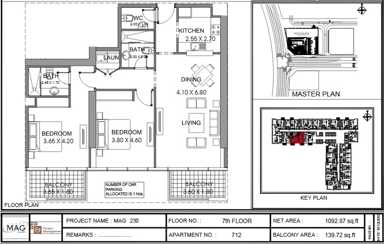 Planning of the apartment 2BR, 1092.9 in MAG 230, Dubai