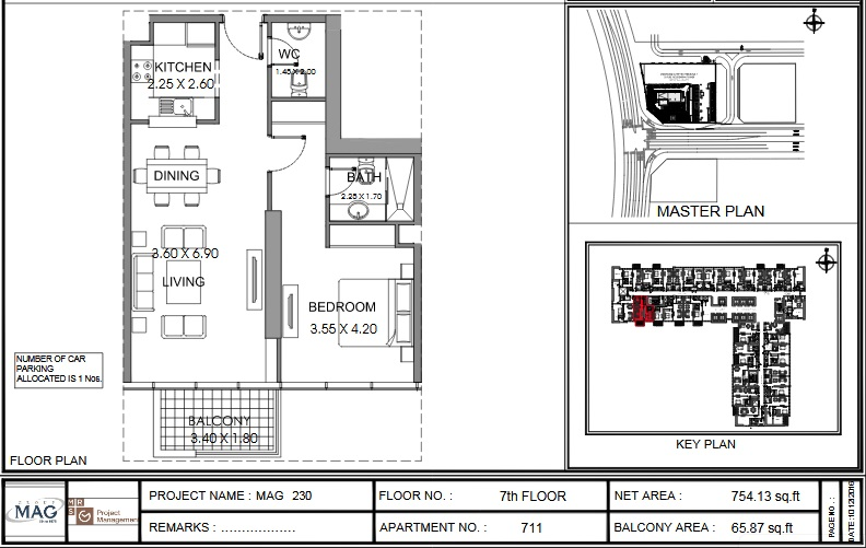 Planning of the apartment 1BR, 754.1 in MAG 230, Dubai