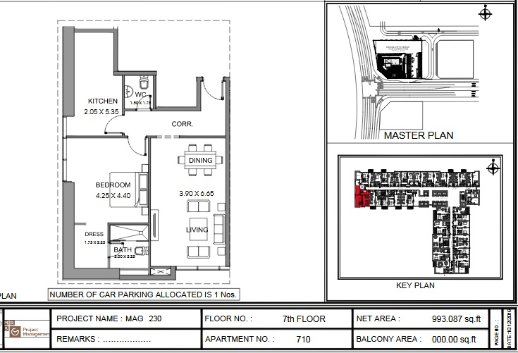 Planning of the apartment 1BR, 993.1 in MAG 230, Dubai