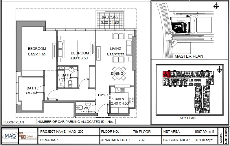 Planning of the apartment 2BR, 1097.4 in MAG 230, Dubai