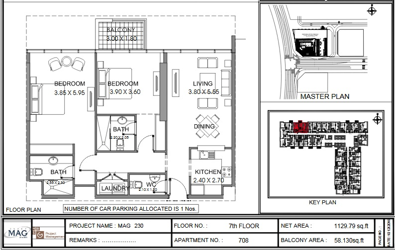 Planning of the apartment 2BR, 1129.8 in MAG 230, Dubai