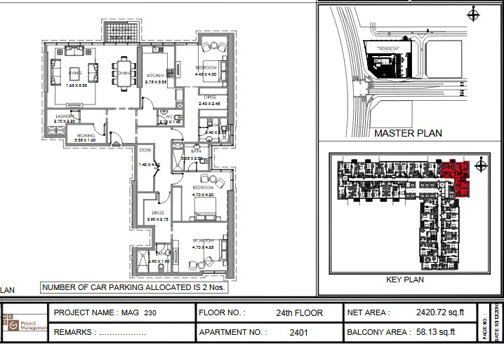 Planning of the apartment 3BR, 2420.7 in MAG 230, Dubai