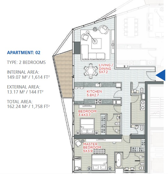 Planning of the apartment 2BR, 1758 in Stella Maris, Dubai