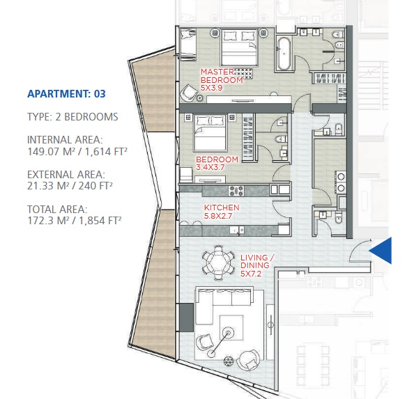 Planning of the apartment 2BR, 1854 in Stella Maris, Dubai