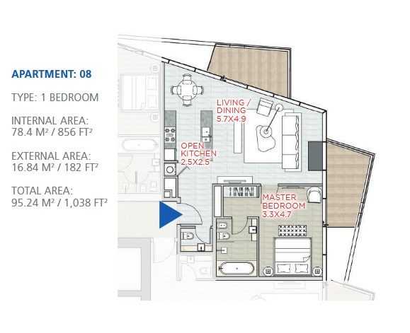 Planning of the apartment 1BR, 1038 in Stella Maris, Dubai