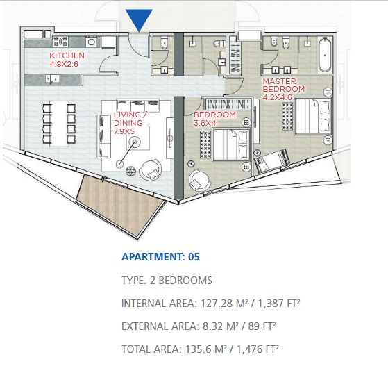 Planning of the apartment 2BR, 1476 in Stella Maris, Dubai
