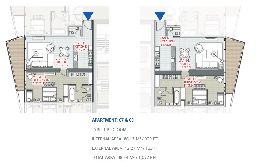 Planning of the apartment 1BR, 1072 in Stella Maris, Dubai
