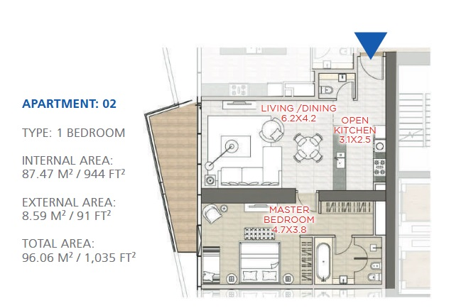 Planning of the apartment 1BR, 1035 in Stella Maris, Dubai