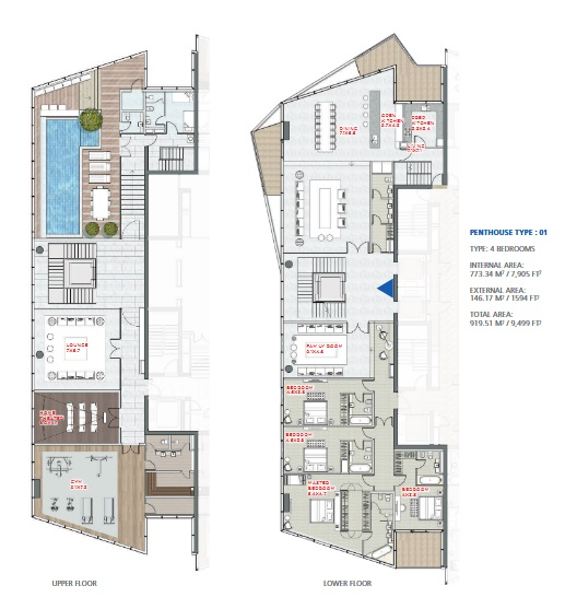 Planning of the apartment Duplexes, 9499 in Stella Maris, Dubai