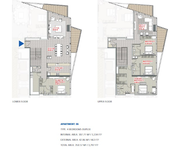Planning of the apartment Duplexes, 3797 in Stella Maris, Dubai