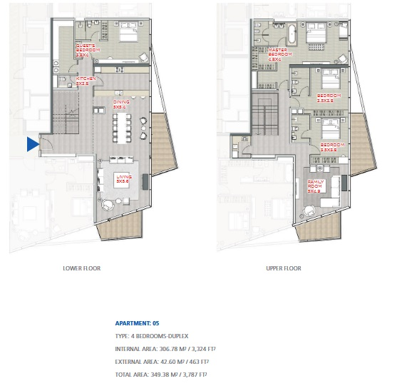Planning of the apartment Duplexes, 3787 in Stella Maris, Dubai