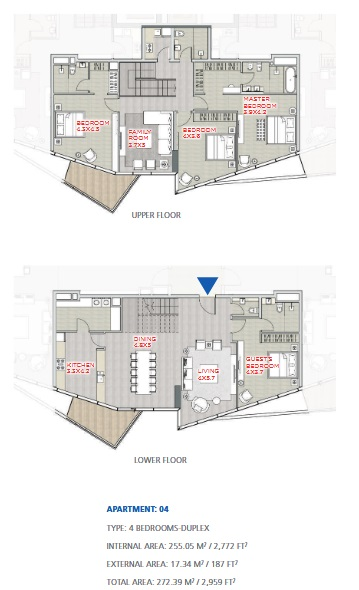 Planning of the apartment Duplexes, 2959 in Stella Maris, Dubai