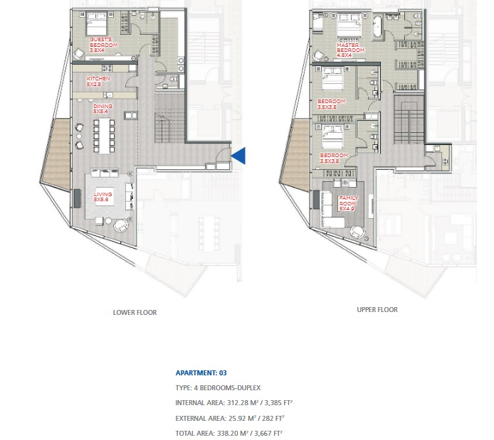 Planning of the apartment Duplexes, 3667 in Stella Maris, Dubai