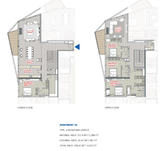 Planning of the apartment Duplexes, 3670 in Stella Maris, Dubai