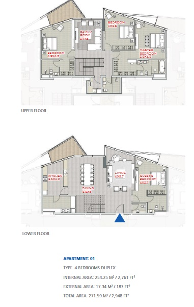 Planning of the apartment Duplexes, 2948 in Stella Maris, Dubai