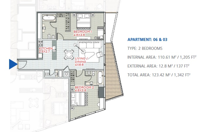 Planning of the apartment 2BR, 1342 in Stella Maris, Dubai
