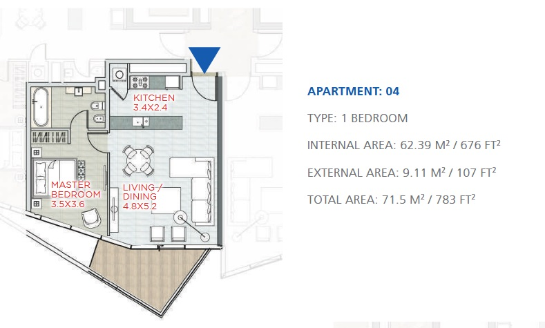 Planning of the apartment 1BR, 783 in Stella Maris, Dubai