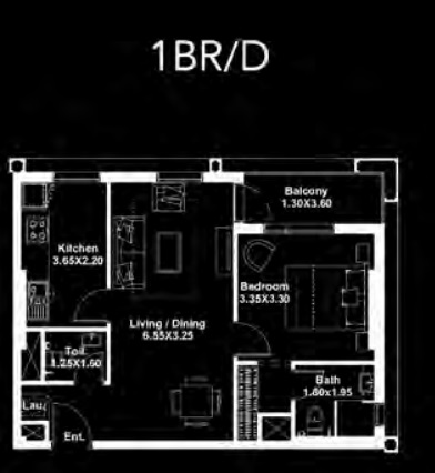 Planning of the apartment 1BR, 664 in Dania by Deyaar, Dubai