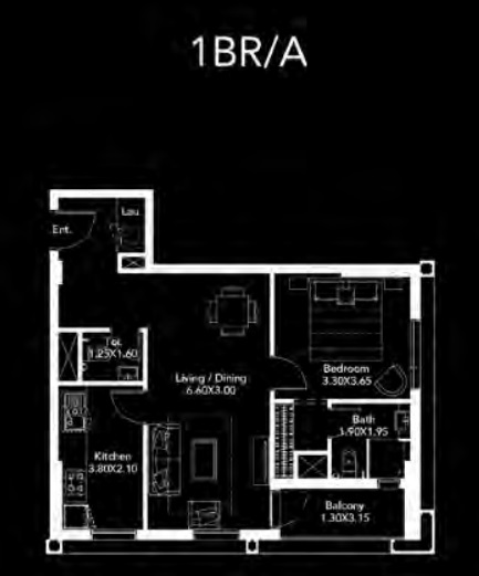 Planning of the apartment 1BR, 719 in Dania by Deyaar, Dubai
