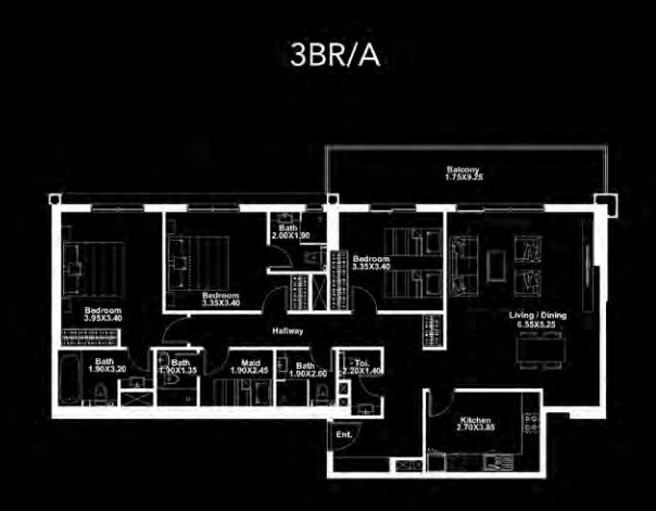 Planning of the apartment 3BR, 1671 in Dania by Deyaar, Dubai