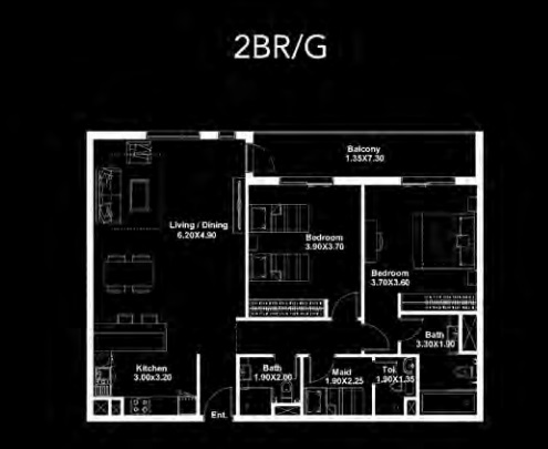 Planning of the apartment 2BR, 1249 in Dania by Deyaar, Dubai