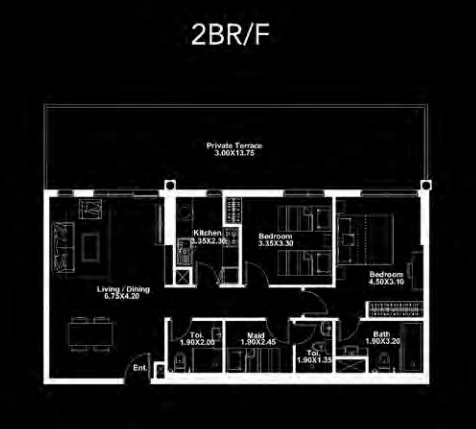 Planning of the apartment 2BR, 1470 in Dania by Deyaar, Dubai