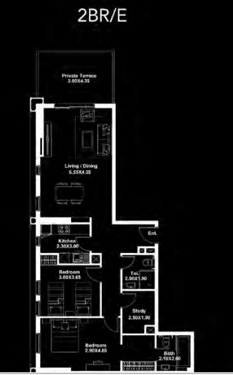 Planning of the apartment 2BR, 1196 in Dania by Deyaar, Dubai