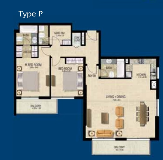 Planning of the apartment 2BR, 1479.83 in Mayfair Residence, Dubai