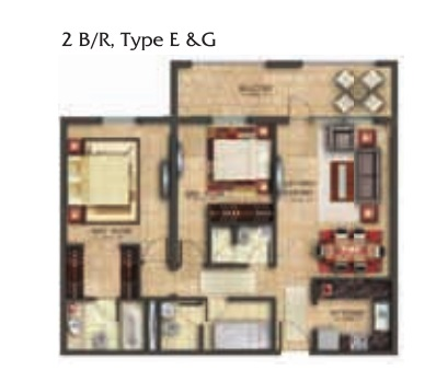 Planning of the apartment 2BR, 1253.18 in Coral Residence, Dubai