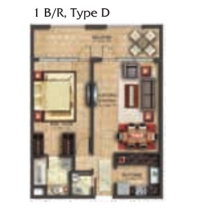 Planning of the apartment 1BR, 881.69 in Coral Residence, Dubai