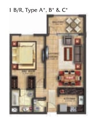 Planning of the apartment 1BR, 800.21 in Coral Residence, Dubai