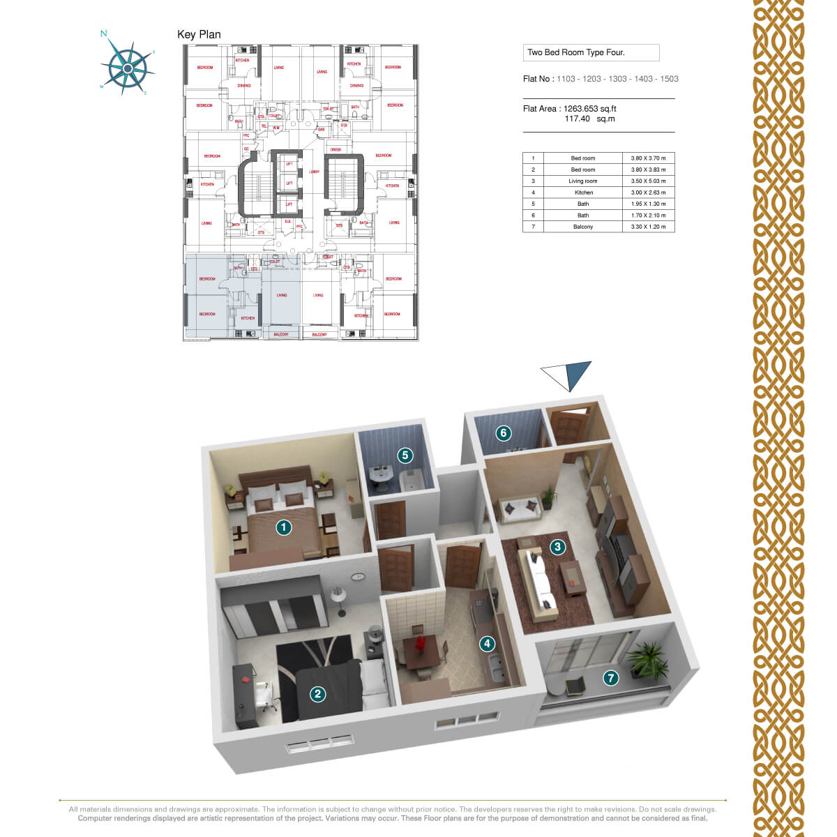 Planning of the apartment 2BR, 1263.65 in Afamia Tower II, Sharjah