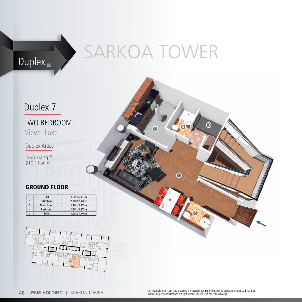 Planning of the apartment 2BR, 2261.62 in Sarkoa Tower, Sharjah