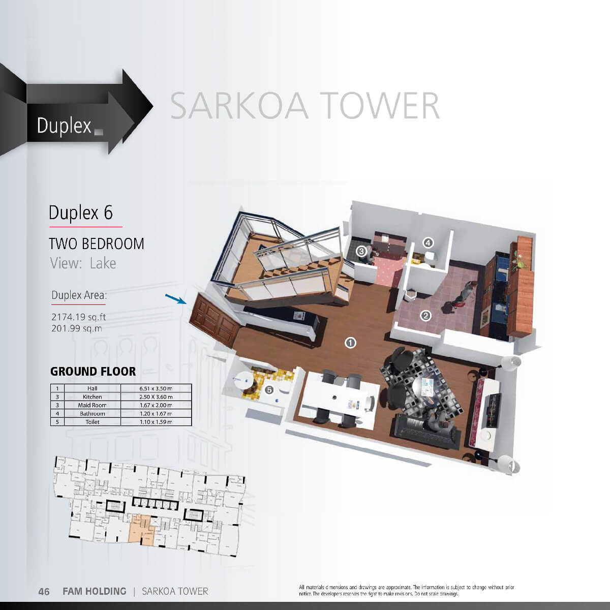 Planning of the apartment 2BR, 2174.19 in Sarkoa Tower, Sharjah