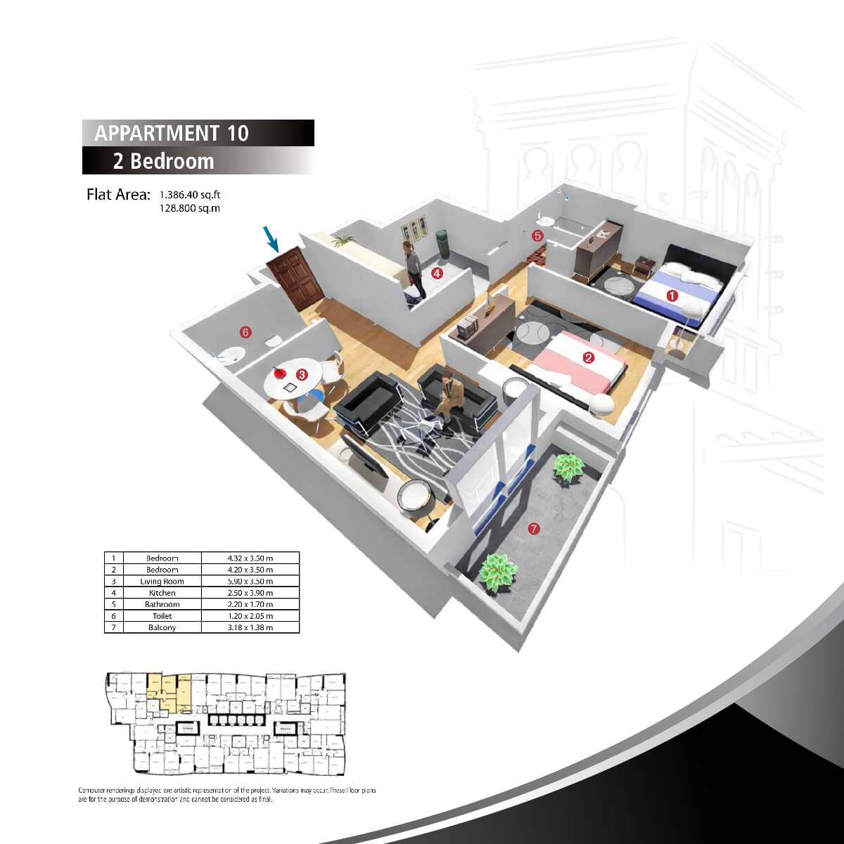 Planning of the apartment 2BR, 1386.4 in Sarkoa Tower, Sharjah