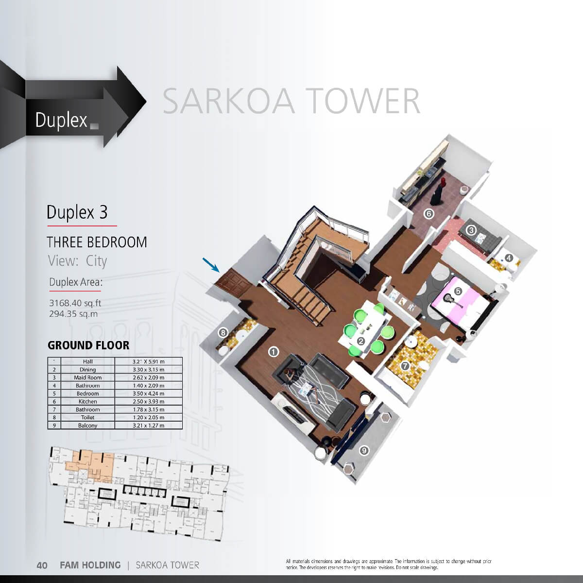 Planning of the apartment 3BR, 3168.4 in Sarkoa Tower, Sharjah