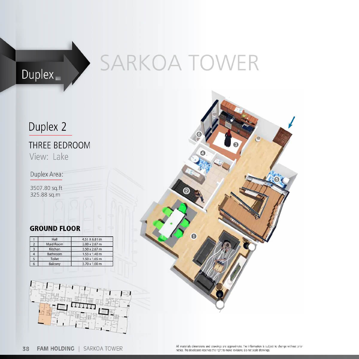 Planning of the apartment 3BR, 3507.8 in Sarkoa Tower, Sharjah