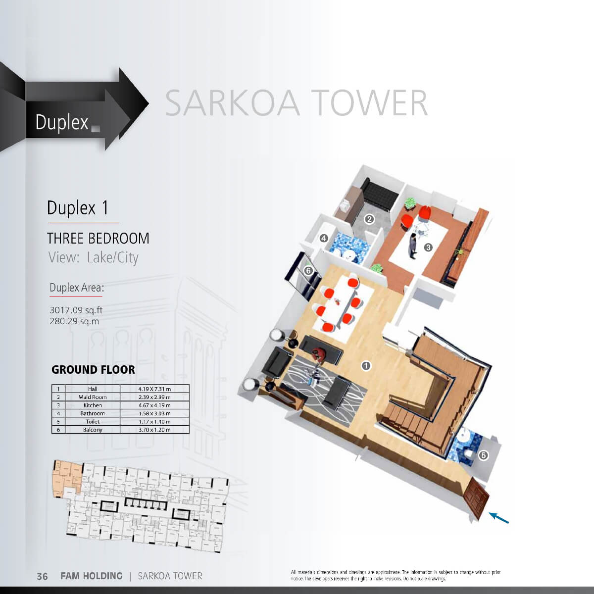 Planning of the apartment 3BR, 3017.09 in Sarkoa Tower, Sharjah
