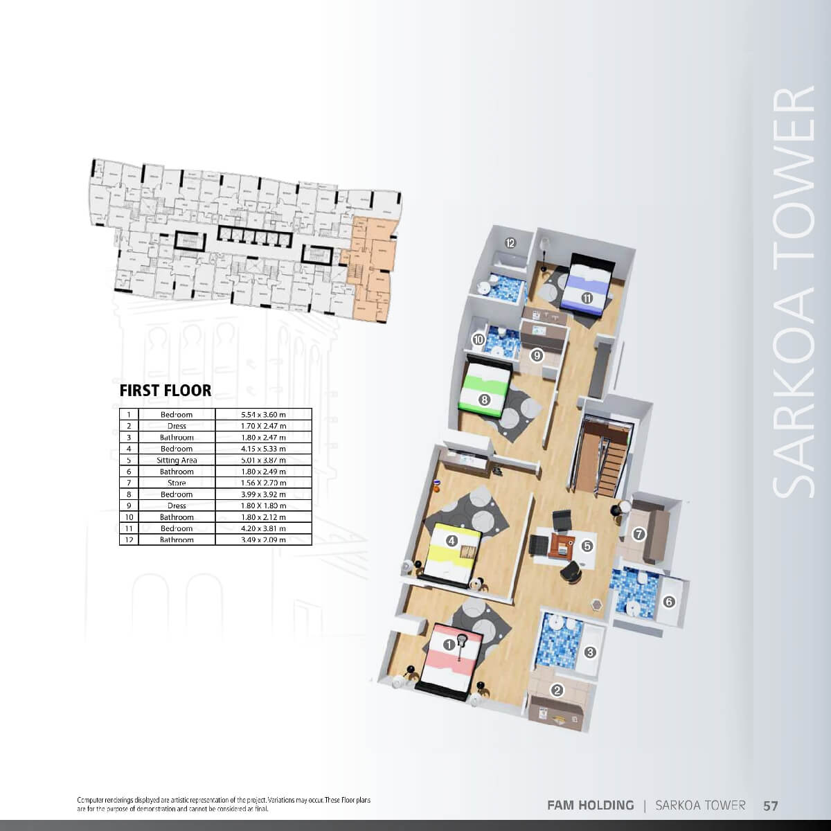 Planning of the apartment 4BR, 4804.93 in Sarkoa Tower, Sharjah